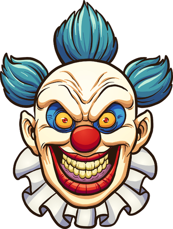 Evil cartoon clown. Vector clip art illustration with simple gradients. All in a single layer.