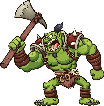 Angry cartoon troll chief. Vector, clip art illustration with simple gradients. All in a single layer.