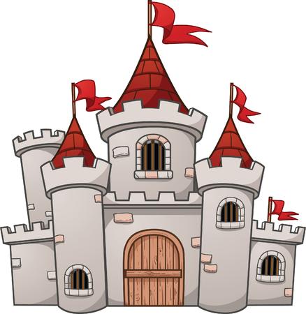 Cartoon medieval castle. Vector clip art illustration with simple gradients.