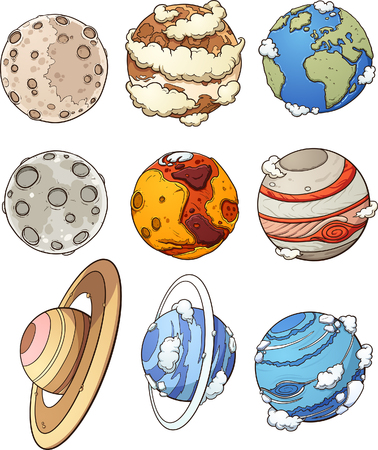 Cartoon planets and Earths moon. Vector clip art illustration with simple gradients. Each in a separate layer.