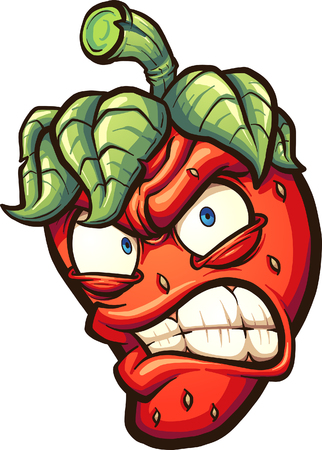 Angry cartoon strawberry. Vector clip art illustration with simple gradients.