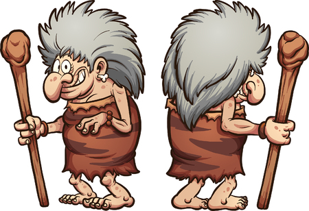 Cartoon prehistoric grandma, front and back.