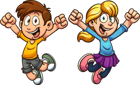 Cartoon kids jumping. Vector clip art illustration with simple gradients. Each on a separate layer.