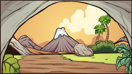 Cartoon prehistoric background. Vector clip art illustration with simple gradients. Some elements on separate layers. 向量圖像