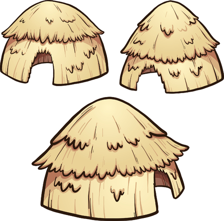Primitive hay huts. Vector clip art illustration with simple gradients. Each on a separate layer.