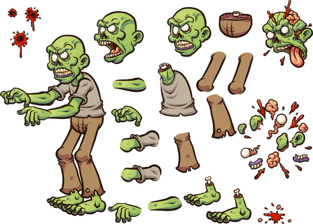 Cartoon zombie, ready for animation. Vector clip art illustration with simple gradients.