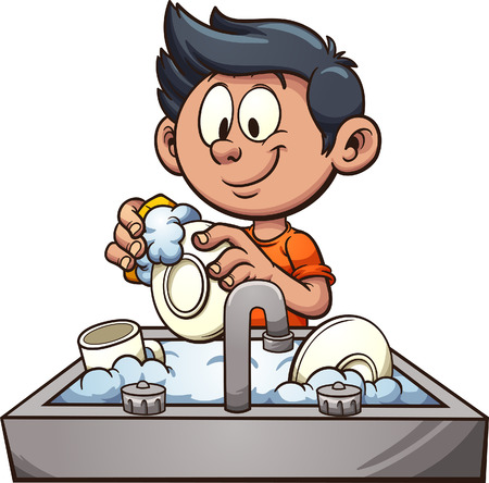 Boy washing dishes. Vector clip art illustration with simple gradients. Some elements on separate layers. 向量圖像