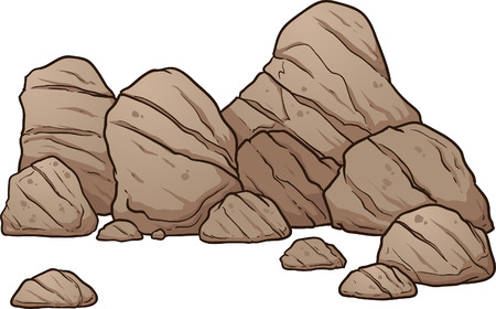 Cartoon keien en rotsen. Vector illustraties illustratie met eenvoudige gradiënten. Alles in een enkele laag. Vector Illustratie