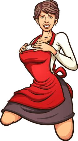 Sexy huisvrouw speld omhoog. Vector clip art illustratie met eenvoudige gradiënten. Alles in een enkele laag.