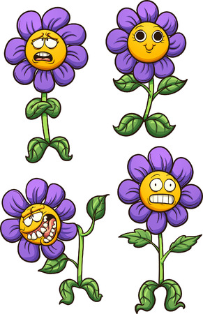 Purple cartoon flower with different expressions. Vector clip art illustration with simple gradients.