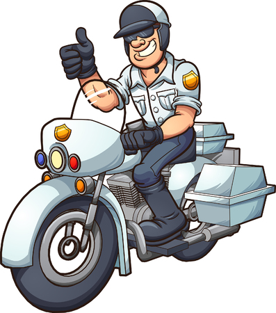 Cartoon motorcycle cop. Vector clip art illustration with simple gradients. All in a single layer.