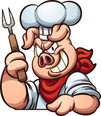 Chef pig with evil smile. Vector clip art illustration with simple gradients. All in a single layer.