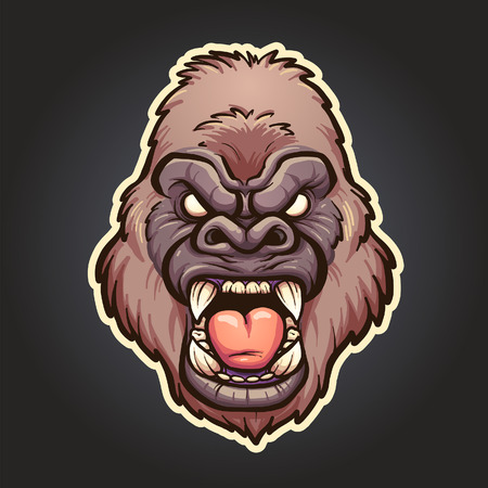 Angry gorilla mascot. Vector clip art illustration with simple gradients. Head, white line and background on separate layers.