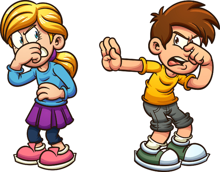 Disgusted cartoon boy and girl. Vector clip art illustration with simple gradients. Each on a separate layer. Illustration