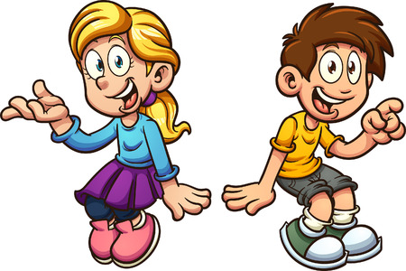 Cartoon boy and girl sitting next to each other. Vector clip art illustration with simple gradients. Each on a separate layer. 向量圖像