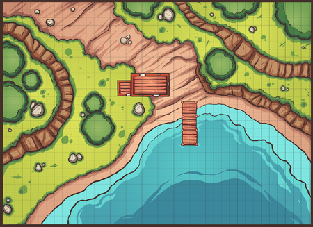 Forest pier map with grid. Vector clip art illustration with simple gradients. Map and grid on separate layers.
