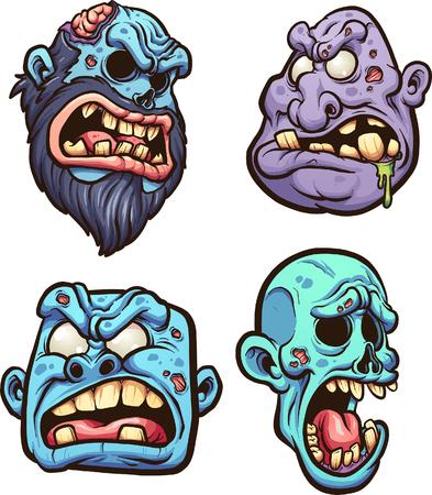 Cartoon zombie hoofden. Vector illustraties illustratie met eenvoudige gradiënten. Elk op een aparte laag. Stockfoto - 81301417