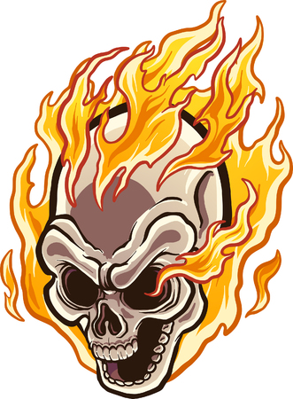 Flaming cartoon skull