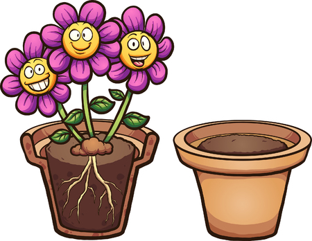 Cartoon flowers with visible roots and flower pot. Vector clip art illustration with simple gradients. Some elements on separate layers