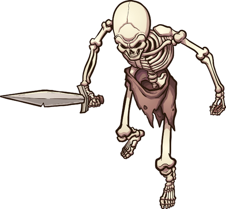 Top view of a skeleton warrior holding a sword. Vector clip art illustration with simple gradients. All in a single layer.
