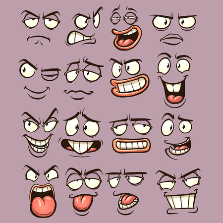 Cartoon faces with different expressions. Vector clip art illustration with simple gradients. Each on a separate layer. 向量圖像