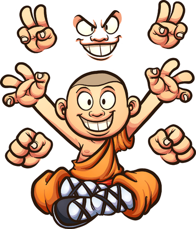 Cartoon monk with different hands and two faces. Vector clip art illustration with simple gradients. Some elements on separate layers. Stock Vector - 82588045