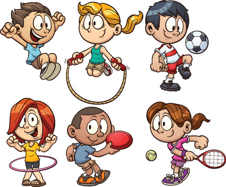 Cartoon kids playing. Vector clip art illustration with simple gradients. Each on a separate layer. Vettoriali