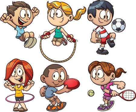 Niños de dibujos animados jugando. Ilustración vectorial de imágenes prediseñadas con gradientes simples. Cada uno en una capa separada.
