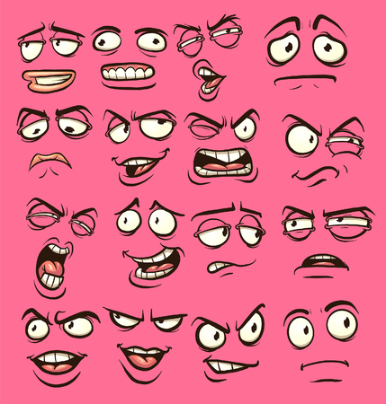 Cartoon faces with different expressions. Vector clip art illustration with simple gradients. Each on a separate layer. Ilustração