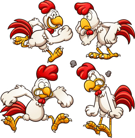 Cartoon chicken with different poses. Vector clip art illustration with simple gradients. Each on a separate layer. Vectores