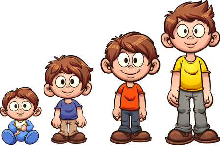 Cartoon boy growing up.