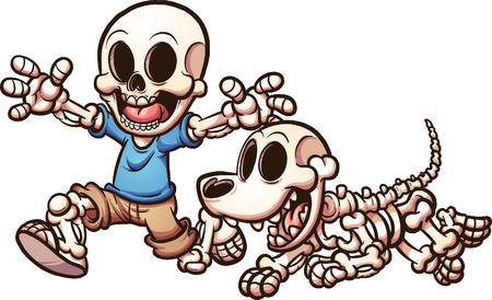Cartoon skeleton jongen en skeleton hond. Vector illustraties illustratie met eenvoudige hellingen. Elk op een aparte laag.