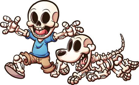 Cartoon skeleton boy and skeleton dog. Vector clip art illustration with simple gradients. Each on a separate layer. Illustration