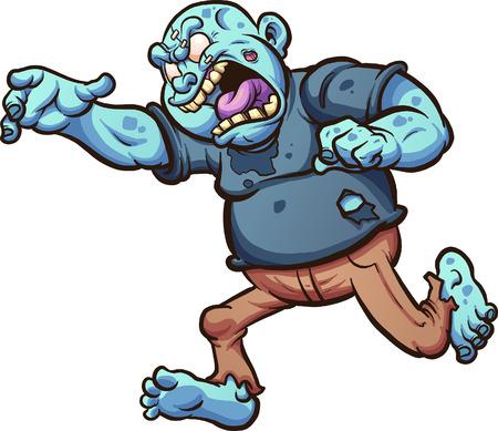 Zombie cartoon grasso in esecuzione e urlando. Illustrazione di clip art vettoriale con gradienti semplici. Tutto in un unico livello. Archivio Fotografico - 83852632