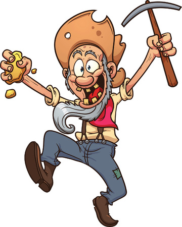 Happy cartoon miner. Vector clip art illustration with simple gradients. All in a single layer. Illusztráció
