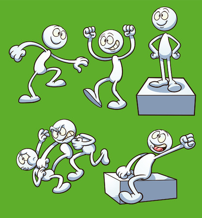 punching: Generic cartoon character performing different actions Illustration