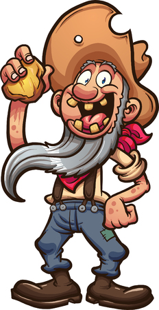 Happy old cartoon prospector holding a piece of gold. Vector clip art illustration with simple gradients.