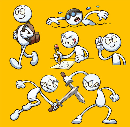 Generic cartoon character performing different actions. Vector clip art illustration with simple gradients. Ilustração