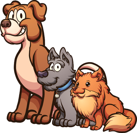 Big, medium and small size cartoon dogs sitting.  Vector clip art illustration with simple gradients.