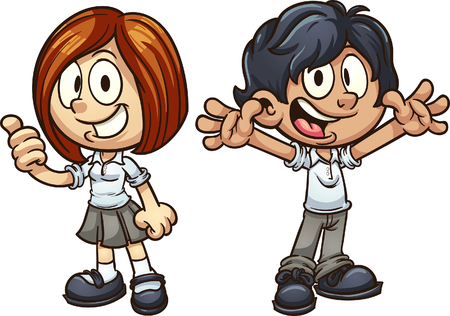 Cartoon kids in uniform. Vector clip art illustration with simple gradients. Each on a separate layer.