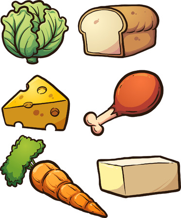 Cartoon food items. Vector clip art illustration with simple gradients. Each on a separate layer. Illustration