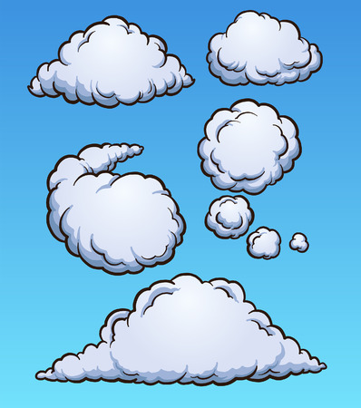 Cartoon clouds. Vector clip art illustration with simple gradients. Each on a separate layer.