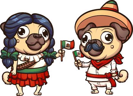 メキシコ革命の服パグのホリデージャック クリップ アート  イラスト・ベクター素材