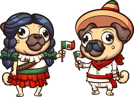 Vectro clip art of pugs in Mexican Revolution clothes Ilustração