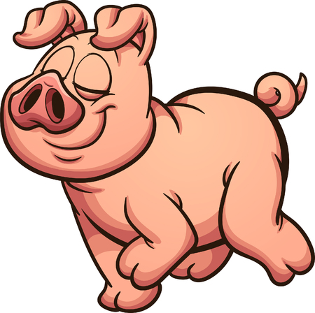 Proud cartoon pig walking. Vector clip art illustration with simple gradients. All in a single layer.