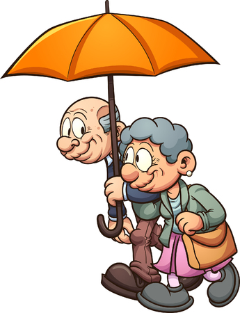 Elderly couple walking with an umbrella. Vector clip art illustration with simple gradients. All in a single layer.