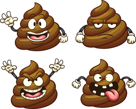 Cartoon poop character with different emotions.