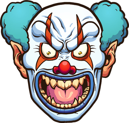 Evil cartoon clown head. 矢量图像