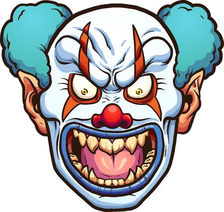 Evil cartoon clown head. Illustration