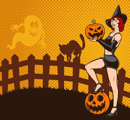 Retro Halloween-Stift herauf Hexenvektorillustration. Einige Elemente auf separaten Ebenen. Standard-Bild - 86313782